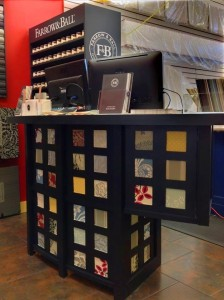 This beautiful desk uses samples from our Farrow & Ball wallpaper and paint line.