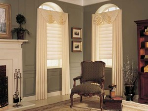 Hunter Douglas Vignette® Modern Roman Shades with sheer drapery panels