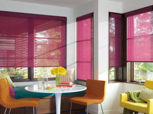 Designer Roller Shades in the Breakfast Nook