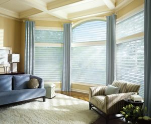 Silhouette® Window Shadings with Drapery Panels in the Living Room